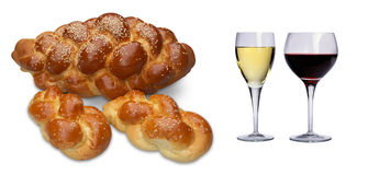 Challah & Wine Royalty Free Stock Images