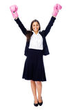 Challange accepted. Successful competitive businesswoman is happy and and has boxing gloves while wearing a suit and isolated on white background royalty free stock images