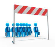 Challenge. Team of businessman stands in front of hurdle. Concept of challenge, obstacle and overcome Stock Photography