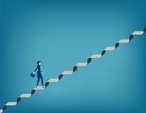 challenge Affärskvinna som går upp trappuppgång stock illustrationer