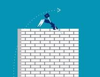 challenge Affärskvinnan hoppar en arg vägg Affärsvektor stock illustrationer