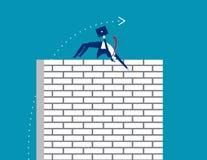 challenge Affärsmannen hoppar en arg vägg Affärsvektor royaltyfri illustrationer