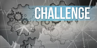 Challenge  against turning cogs. The word challenge  and stocks and shares against turning cogs Royalty Free Stock Images