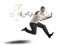 Challenge in business. With running businessman with laptop Stock Image