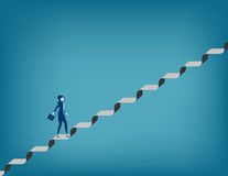 Challenge. Businesswoman walking up staircase. Concept business illustration. Vector flat Royalty Free Stock Photos