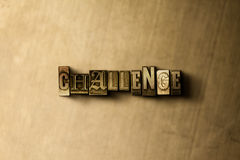 CHALLENGE - close-up of grungy vintage typeset word on metal backdrop Royalty Free Stock Photo