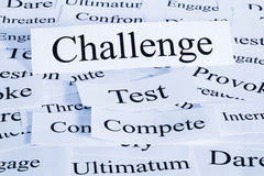 Challenge Concept. A conceptual look at challenge, geing tested, competing, dareing Stock Images