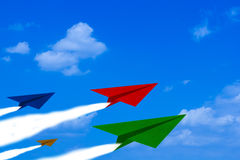 Challenge Concept Background. Challenge concept, competition paper plane on blue sky background Royalty Free Stock Photos