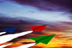 Challenge Concept Background. Challenge concept, competition paper plane on sky background Royalty Free Stock Photography