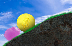 Challenge Concept Background. Challenge concept, pink pig and gold coin on mountain background Royalty Free Stock Photos