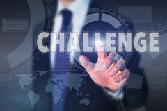 Challenge concept. Business man touching word on touchscreen Royalty Free Stock Photo