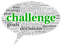 Challenge concept in word tag cloud Royalty Free Stock Images
