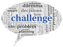 Challenge concept in word tag cloud. Of speking bubble shape Stock Photos