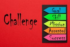 Challenge concept diagram. Challenge diagram written on red background. Business concept stock image
