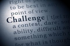 Challenge. Dictionary definition of the word Challenge Stock Image