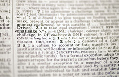 Challenge in the dictionary. The word challenge in the dictionary Royalty Free Stock Images