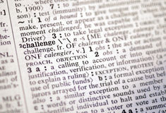 Challenge in the dictionary. The word challenge in the dictionary Royalty Free Stock Photography