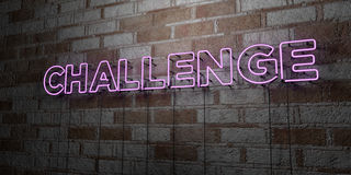 CHALLENGE - Glowing Neon Sign on stonework wall - 3D rendered royalty free stock illustration Royalty Free Stock Photography