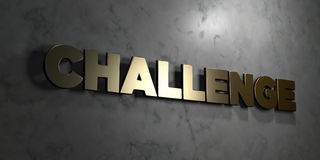 Challenge - Gold sign mounted on glossy marble wall  - 3D rendered royalty free stock illustration Stock Images