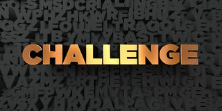 Challenge - Gold text on black background - 3D rendered royalty free stock picture. This image can be used for an online website banner ad or a print postcard Royalty Free Stock Images