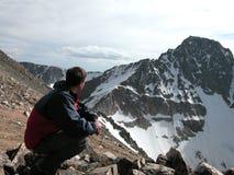 Challenge - Granite Peak, Montana. Gazing at the challenges ahead. Granite Peak is Montana's Highest Peak royalty free stock photography