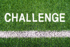 CHALLENGE hand writing text on soccer field grass Stock Photography