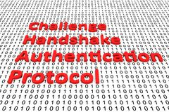 Challenge handshake authentication protocol. In the form of binary code, 3D illustration Royalty Free Stock Photos