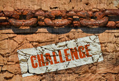 Challenge. Huge old chain and word Challenge on vintage background Royalty Free Stock Photography