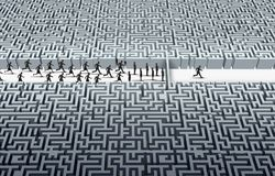 Challenge Leadership Concept. Challenge leadership as a businessman navigating through a maze as a business success idea with 3D illustration elements Stock Image