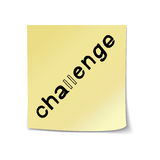 Challenge Lettering on Sticky Note Royalty Free Stock Images