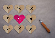 Challenge and Love Always Wins Concept. Paper heart shape with Tic Tac Toe Game Competition XO Win created of paper red hearts, Challenge and Love Always Wins royalty free stock image