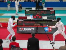 Challenge Monal Paris - Fencing. A fencing battle at Challenge Monal in Paris Royalty Free Stock Photos