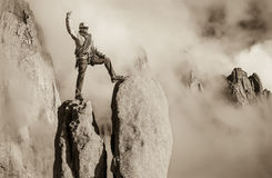 Challenge the mountain. Royalty Free Stock Photo