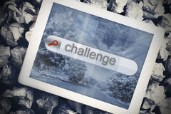 Challenge in search bar on tablet screen Stock Photography