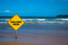 Challenge sign on the beach Royalty Free Stock Image