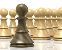 Challenge. Single Black Wood Chessman Against White Chess Pieces on White Background Royalty Free Stock Images