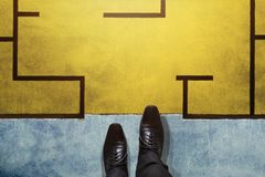 Challenge, Strategy and Leadership Concept. Top View of Business. Man Walking into the Maze Royalty Free Stock Images