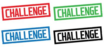CHALLENGE text, on rectangle border stamp sign. CHALLENGE text, on rectangle border stamp sign, in color set Stock Photography