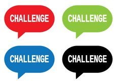 CHALLENGE text, on rectangle speech bubble sign. CHALLENGE text, on rectangle speech bubble sign, in color set Stock Image