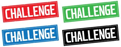 CHALLENGE text, on rectangle stamp sign. CHALLENGE text, on rectangle stamp sign, in color set Stock Images