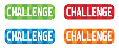 CHALLENGE text, on rectangle, zig zag pattern stamp sign. CHALLENGE text, on rectangle, zig zag pattern stamp sign, in color set Stock Images