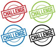 CHALLENGE text, on round simple stamp sign. CHALLENGE text, on round simple stamp sign, in color set Royalty Free Stock Images