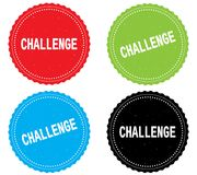 CHALLENGE text, on round wavy border stamp badge. CHALLENGE text, on round wavy border stamp badge, in color set Royalty Free Stock Photography