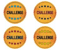 CHALLENGE text, on round wavy border vintage, stamp badge. CHALLENGE text, on round wavy border vintage stamp badge, in color set Royalty Free Stock Images