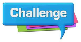 Challenge Blue Colorful Comment Symbol. Challenge text written over blue colorful background Royalty Free Stock Photo