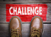 Challenge. Top View of Boot on wooden background Stock Photo