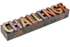 Challenge in vintage wood type Royalty Free Stock Photos