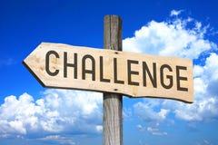 Challenge - wooden signpost Stock Image