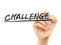 Challenge word written by 3d hand. Over white background Royalty Free Stock Photo