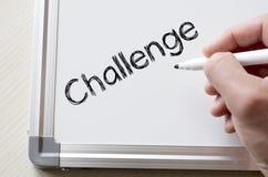 Challenge written on whiteboard Stock Photography
